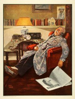 1925 Ad Fisk Tire Old Man Sleeping Chair Art Paul Hesse   Original Print Ad