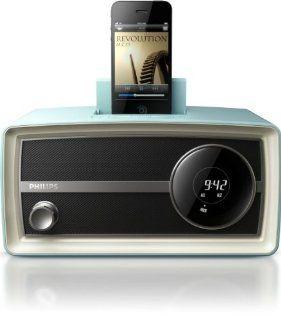Philips ORD2100B/37 30 Pin Charging Alarm Speaker Dock Original Radio Mini (Blue)  Shortwave And All Hazard Radios   Players & Accessories