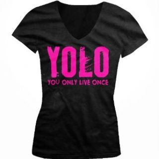 YOLO, Neon Pink Design, You Only Live Once Juniors V Neck T shirt, Hot Trendy Lyrics Design YOLO, Y.O.L.O Junior's V neck Tee Shirt: Clothing
