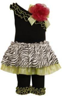 Bonnie Jean Girls 2T 4T Black One Shoulder Skirt With Knit Legging Bonnie Jean Clothing