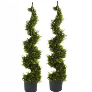 (TWO) 4' Outdoor Cypress Artificial Spiral Topiary Tree