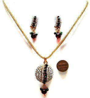 Burgundy Green Color Faux Garnet Emerald Golden Look 34 gm 3 Pcs Bollywood Necklace Earring Set Tribal set Bargains Women India Indian Bollywood Fashion Jewelry Accessories Z Others BSYGYA: Jewelry