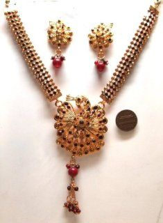 CSYEPMB Burgundy Colour Faux Garnet Golden Look 40 gm 3 Pcs awesome Necklace Earring Set Victorian Set Bargains Women India Indian Bollywood Fashion Jewelry Accessories Z Others: Jewelry