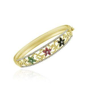 Gold Tone over Sterling Silver Ruby, Sapphire, Emerald & Diamond Accent Flower Bangle Bracelet Jewelry