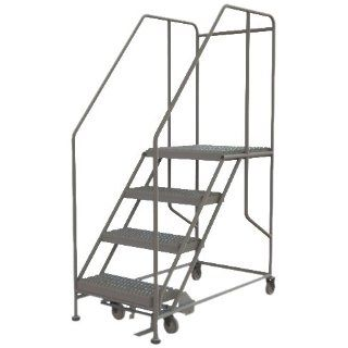Tri Arc WLWP142424SL 4 Step Forward Descent Mobile Steel Work Platform with Handrails, Step Lock, 24 Inch x 24 Inch Platform, 45 Inch Long Overall: Stepladders: Industrial & Scientific