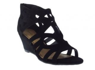 Matthew 08 Womens Cut out Wedge Sandals Black: Shoes