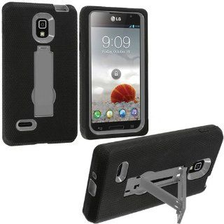 Hard Plastic Snap on Cover Fits LG P769 Optimus L9 Armor Black/Grey Hybrid (Outside Black Soft Silicone Skin, Inside Grey Front and Back Hard Case with Stand) T Mobile: Cell Phones & Accessories