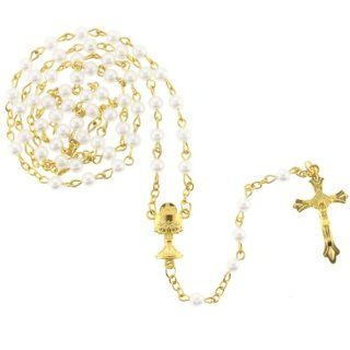 White 5mm Bead Rosary with Gold Color Links   First Communion Chalice Centerpiece   25'' Necklace Length, 18'' Overall   Protective Case Included: Jewelry