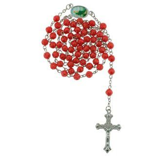 Red Rose Bud Bead Chain Link Rosary   St. Jude Centerpiece   28 in. Necklace   19 in. Overall: Women Rosary Necklace: Jewelry