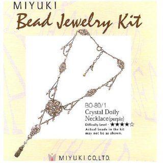 Create Your Own Miyuki Glass Bead Kit Purple Doily Necklace