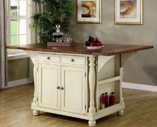 Coaster Large Scale Kitchen Island in a Buttermilk and Cherry Finish   End Tables