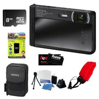 Sony DSC TX30/B 18 MP Digital Camera with 5x Optical Image Stabilized Zoom and 3.3 Inch OLED (Black) + 8GB Memory Card + Multi Card Reader Writer + Digital Camera Case + Floating Foam Strap Red + Flexible Tripod, Memory Card Wallet, 3pc Cleaning Kit : Poin