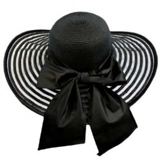 Luxury Divas Black Wide Brim Circular Pattern Floppy Hat With Large Satin Bow at  Women�s Clothing store