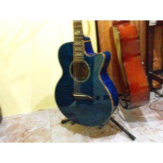 Dean Performer Acoustic Electric Guitar Quilt Ash Transparent Blue Musical Instruments