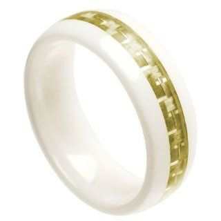 8mm White Ceramic High Polish Domed with Gold Carbon Fiber Inlay Wedding Band Ring (Sizes 7 to 12) Please E mail Sizes: Jewelry