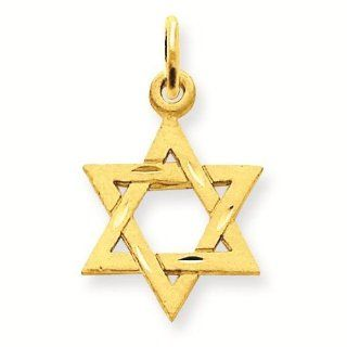 14k Solid Satin Star of David Charm Pendant   Gold Jewelry: Reeve and Knight: Jewelry