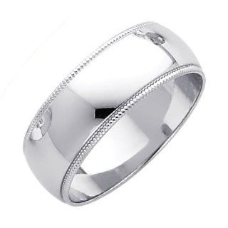 14K White Gold 7mm Plain Milgrain Wedding Band Ring for Men & Women (Size 4 to 12): Jewelry