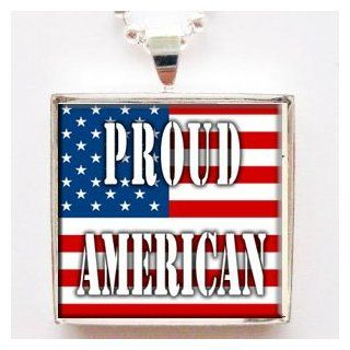 Proud American with Flag Background Glass Tile Pendant Necklace with Chain: Jewelry