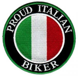 Proud Italian Biker Embroidered Patch Italy Flag Iron On Motorcycle Emblem: Clothing