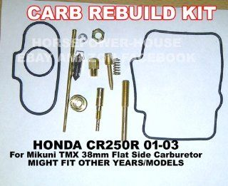 Carb Carburetor Rebuild Kit with Gasket Main Pilot Slow Jet Needle Idle Air Screw Spring and more for Mikuni TMX 38 38mm Flat Side MX Carb fits Honda CR250 CR250R 01 02 03 and Possibly Other Brands and Models with Similar Carb and Motor : Other Products :