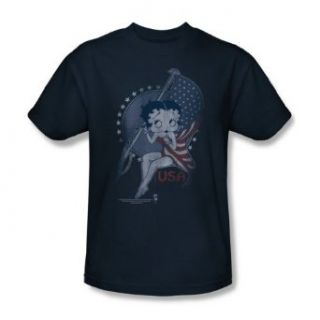 Betty Boop   Proud Betty Adult T Shirt In Navy: Clothing