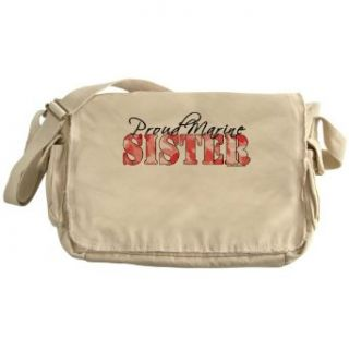 Proud Marine Sister (Pink Butterfly Camo) Messenger Bag: Clothing