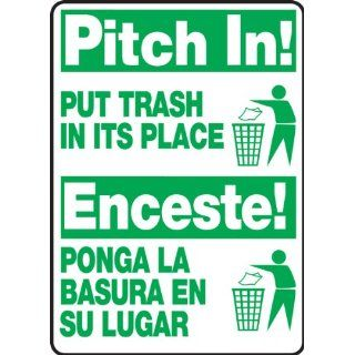 "Accuform Signs SBMHSK903VP Plastic Spanish Bilingual Sign, Legend ""PITCH IN! PUT TRASH IN ITS PLACE/ENCESTE! PONGA LA BASURA EN SU LUGAR"" with Graphic, 14"" Length x 10"" Width x 0.055"" Thickness, Green on White: Industrial Warning S"