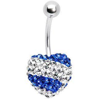 Stellar Splash Indigo Heart Sparkler Belly Ring: Jewelry