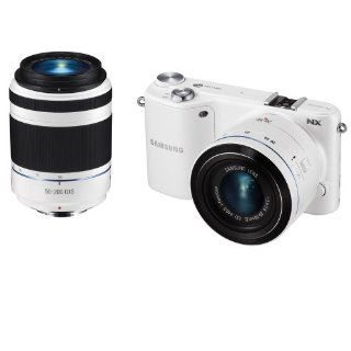 Samsung NX2000 20.3MP CMOS Smart WiFi Compact Interchangeable Lens Digital Camera with 20 50mm and 50 200mm Zoom Lens Bundle (White)  Compact System Digital Cameras  Camera & Photo