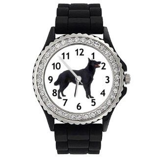 Australian Kelpie Dog Crystal Rhinestone Jelly Silicone Wrist Watch: Watches