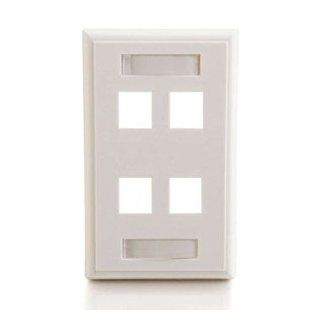 C2G 4 Socket Keystone Network/Multimedia Faceplate 4PORT KEYSTONE WALLPLATE WHT  : Electronics