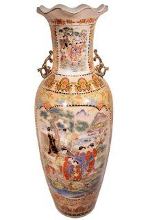 "36"" High Rustic Chinese Porcelain Satsuma Temple Vase. Gold Glaze on White Background with Asian Landscape Pattern : Decorative Vases : Patio, Lawn & Garden"