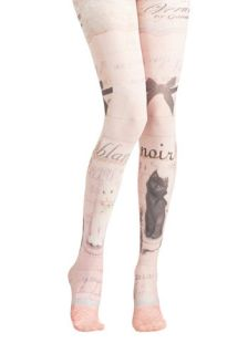 Opposites Cat tract Tights  Mod Retro Vintage Tights