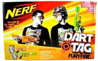 "Hasbro Year NERF Dart Tag Series Complete 2 Player Set   FURY FIRE with 2 Blasters, 20 ""Dart Tag"" Darts, 2 Scoring Vests, 2 Sets of Vision Gear and Instructions for 6 Official ""Dart Tag"" Games: Toys & Games"