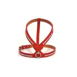 Red Swarovski Crystal Embossed Leather Teacup Ice Dog Harnesses (Small)  Pet Halter Harnesses