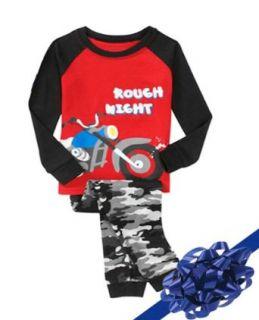 Camo Pajamas, Boys 2 Piece Pajama Set, Color: Camoflage, Red and Black, Size 4T: Clothing