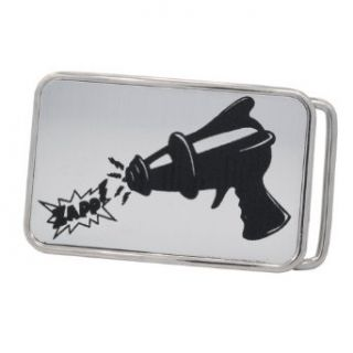 Futuristic Ray Gun Art Toy Brushed Aluminum Belt Buckle Metal Comic Laser SILVER: Clothing