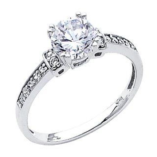 14K White Gold Round Solitaire with Side Stone Top Quality Shines CZ Cubic Zirconia 1.25 CT Equivalent Ladies Wedding Engagement Ring Band: The World Jewelry Center: Jewelry