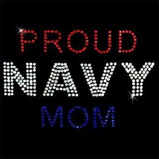 Iron on Hot Fix Rhinestone Motif Design Proud Navy Mom
