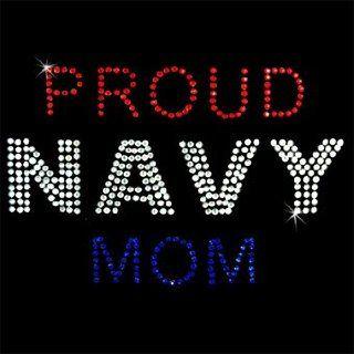 Iron on Hot Fix Rhinestone Motif Design Proud Navy Mom