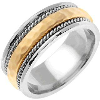 18K White Gold Women's Braided Rope Edge Hammered Finish Wedding Band (8.5mm): Jewelry