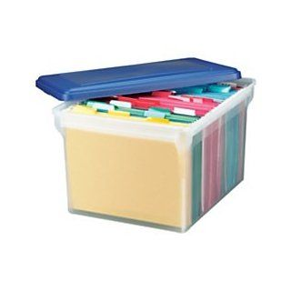 Office Depot(R) Brand Stackable File Tote Box, Letter/Legal Size, 10 13/16In.H X 14 1/8In.W X 18In.D, Blue/Clear : Storage File Boxes : Office Products