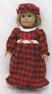 "Plaid Nightgown with Matching Cap. Fits 18"" Dolls like American Girl�: Toys & Games"
