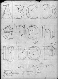 Photo: Sheet of drawings for Frederic Goudy's Friar type, alphabet letters   Prints