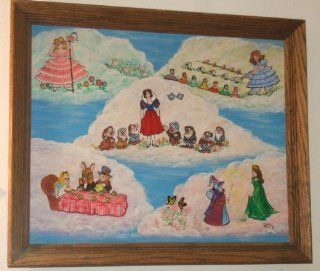 Folk Art Painting Featuring Fairy Tale Scenes From Little Bo Peep; Alice in Wonderland; Snow White and the Seven Dwarves; Mary, Mary Quite Contrary and Cinderella  Other Products