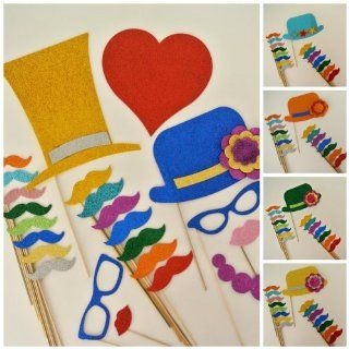 Mustache on a Stick Photo Booth Party Supplies Party Favors 100 Pc Top Hats Bowler Hats Hearts Mustache on a Stickits Vintage Eyeglasses Lips Health & Personal Care