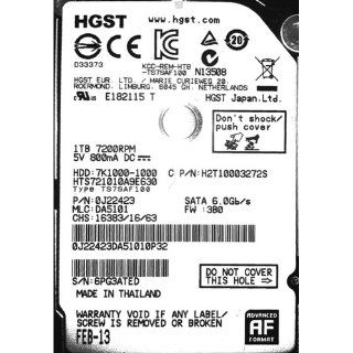 HGST Travelstar 2.5 Inch 1TB 7200RPM SATA 6GB/s 32MB Cache Mobile retail kit: Computers & Accessories