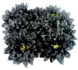 "(12) Black Silk Dahlia Flower Heads   4""   Artificial Flowers Dahlias Head Fabric Floral Supplies Wholesale Lot for Wedding Flowers Accessories Make Bridal Hair Clips Headbands Dress"