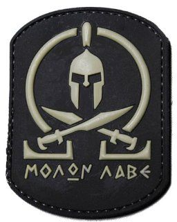 """Molon Labe"" PVC Rubber Velcro IFF Patch   Black / Grey"
