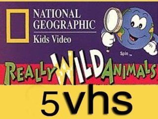 national geographic kids video set 5 vhs : National Geographic's Really Wild Animals: Deep Sea Dive, Nat'l Geo: Swining Safari. National Geographic's Really Wild Animals: Amazing North America. Tales From The Wild: Cain The Coyote , Tales From